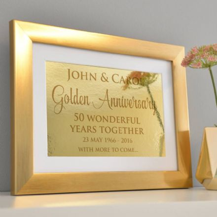 Personalised Golden Wedding Anniversary Framed Print